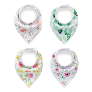 Set of 4 Baby Bandana Drool Bibs with Adjustable Snaps A321A1L