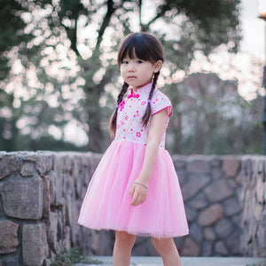 2-10Y Pink Floral Cheongsam Tulle Dress A200C62I
