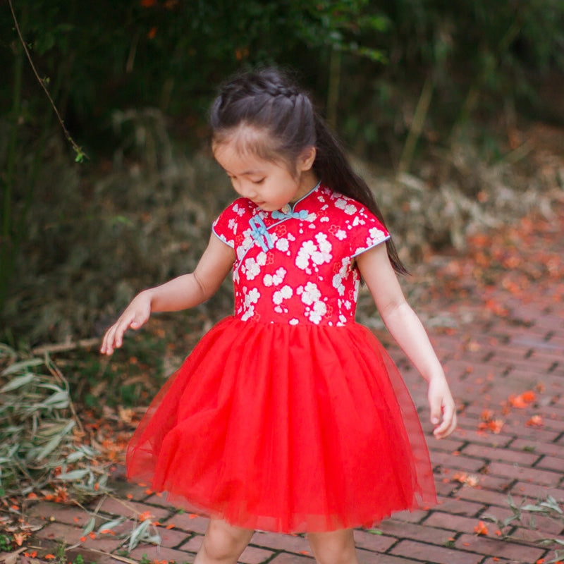 2-8Y Red Floral Cheongsam Tulle Dress A200C62J