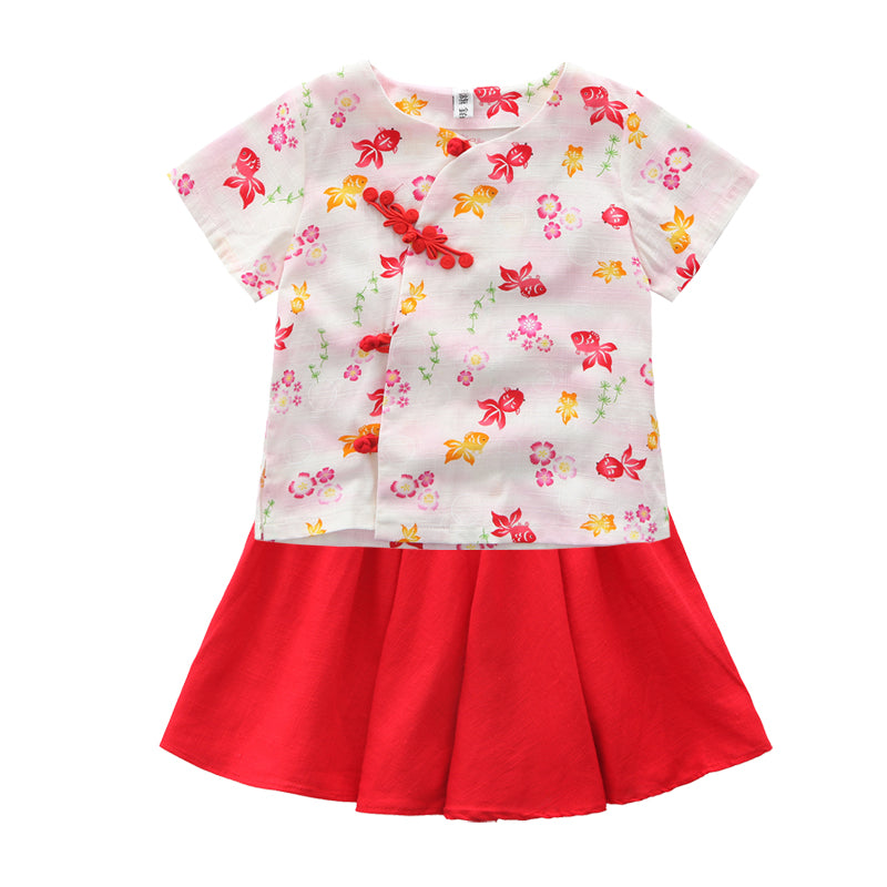 1-8Y Girls Cheongsam Top and Bottom 2pcs Set A200C63A