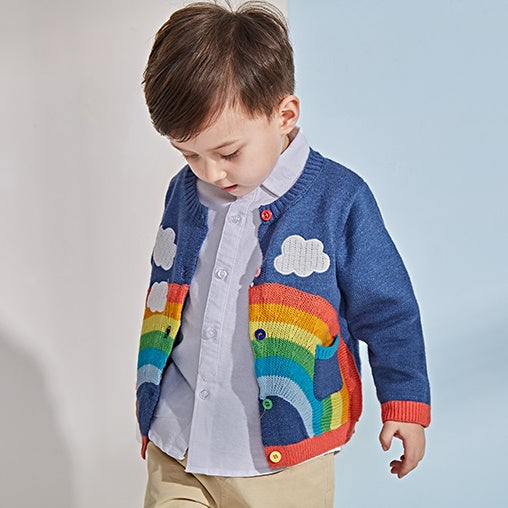 3-10Y Kids Knitted Rainbow and Clouds Cardigan A2085N (Pre-Order available for blue colour)