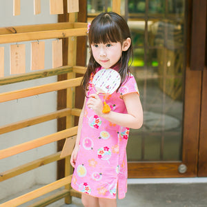 2-8Y Girls Pink Chinese Fans Cheongsam Dress A200C63I