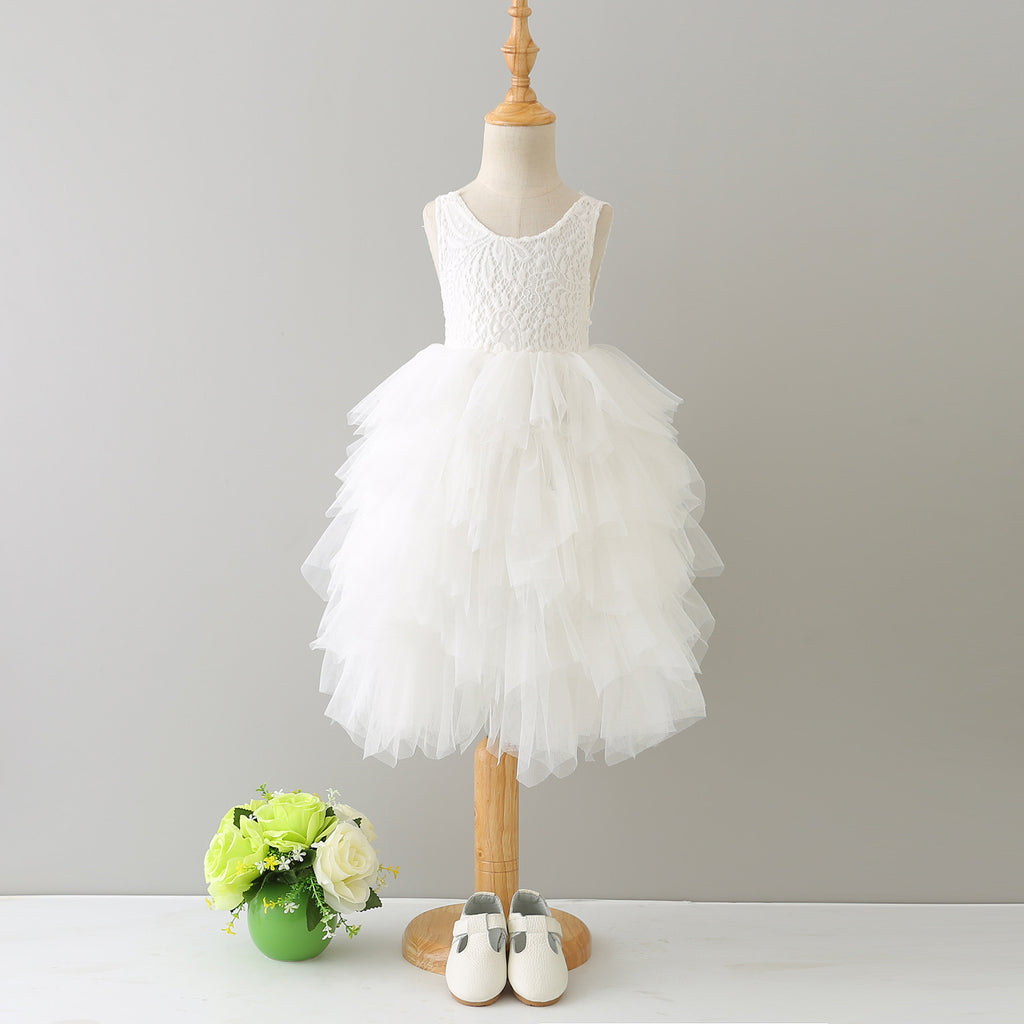 1-8Y White Lace and White Layers Tulle Long Gown G2101O