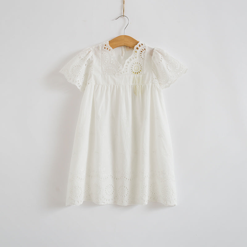 3-8Y Girls White Casual Dress A20128D