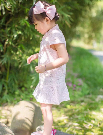 2-10Y Designer Series Pink Lace Cheongsam A200C61C (Mother sizes available)