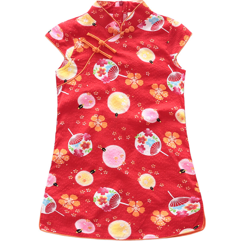 2-8Y Girls Red Chinese Fans Cheongsam Dress A200C63L