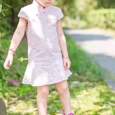 3-7Y Designer Series Pink Lace Cheongsam A200C61C (Mother sizes available)