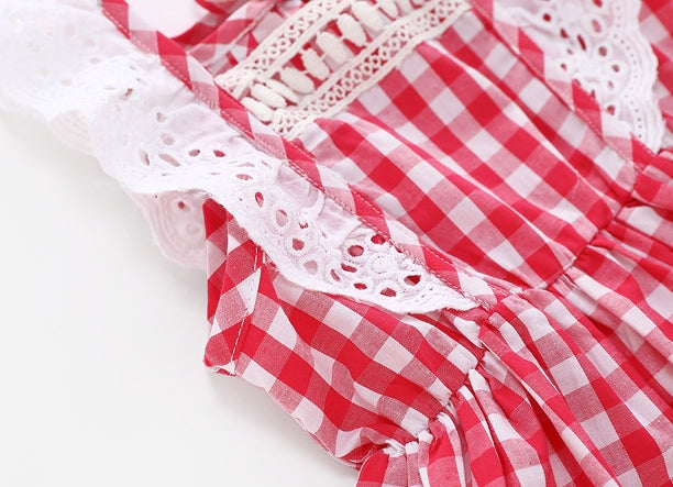 2-8Y Girls Red Checker Dress A20128C
