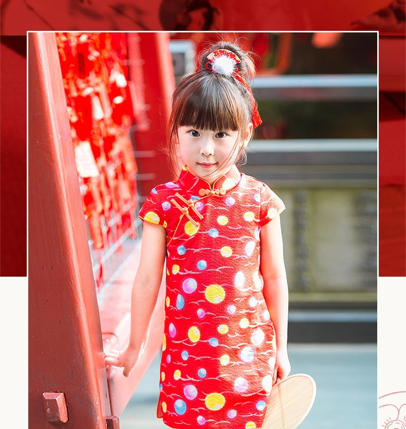 2-8Y Girls Red Circles Cheongsam Dress A200C63J