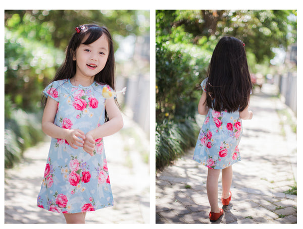 2-10Y Blue Floral Cheongsam Dress A200C62G
