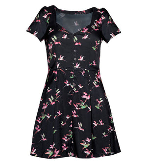 Women Black Honeybee Feminine Dress W3001A25