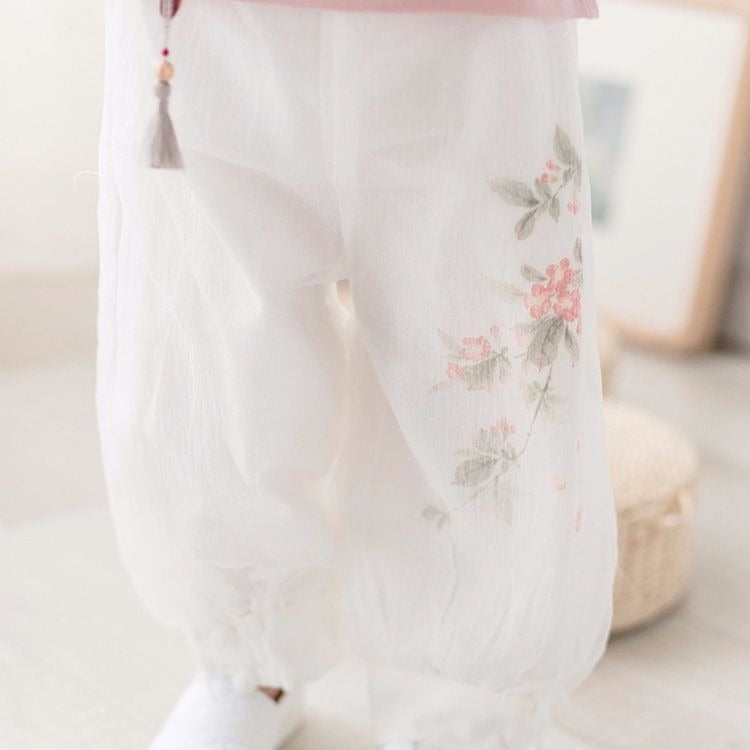 2-8Y Girls Chiffon Double Layers Chinese Pants A200C31F