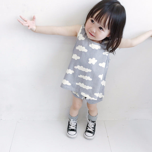 1-4Y Grey Cloudy Dress with Bloomer 2pcs Set A207A