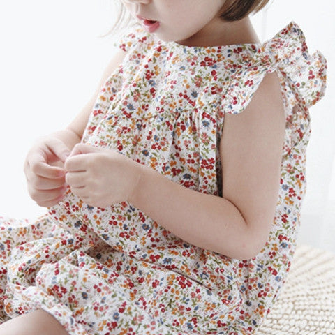 1-7Y Pocketpig Diary Girls Floral Ruffles Rompers