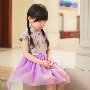2-8Y Girls Cheongsam Tulle Dress A200C63D