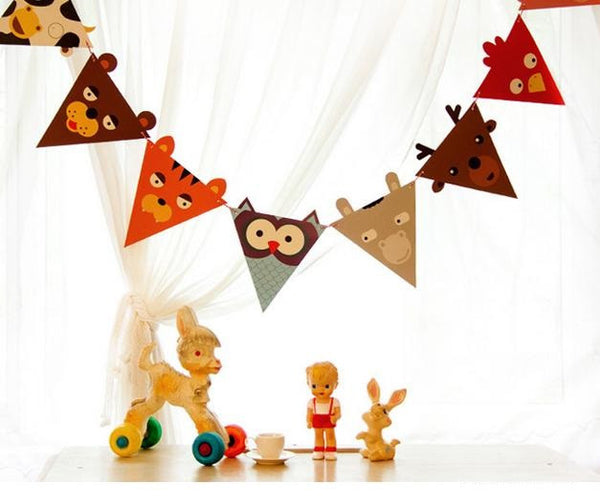 BENTOY Bunting Garland Set Animal Party A704C