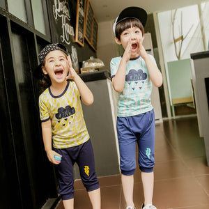 2-10Y Kid Raining Top and Bottom Homewear 2pcs Set K1034A