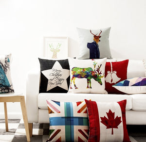 Linen Single Sided Printed Christmas Cushion Covers X651