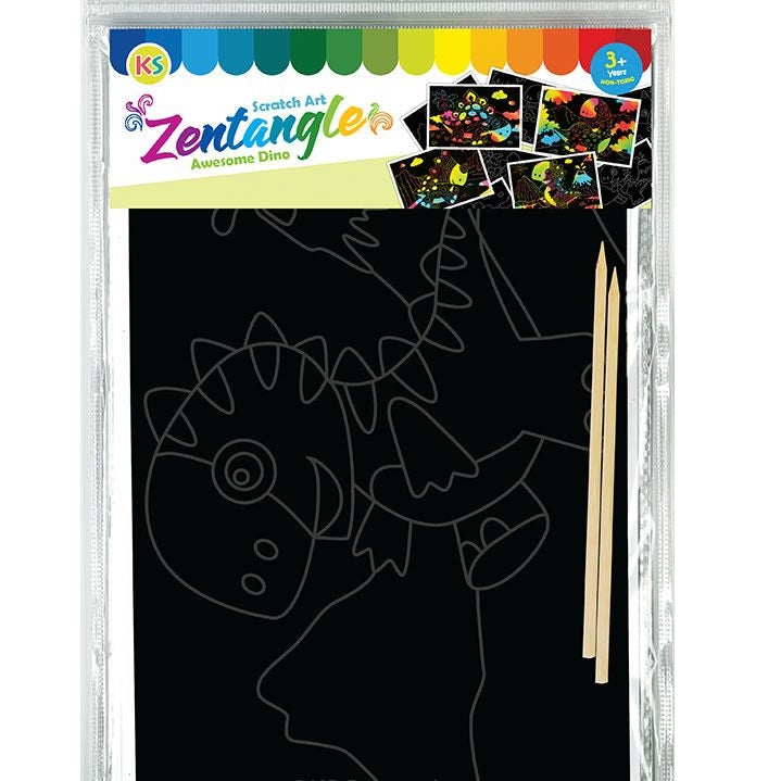 Funkids Tangle Scratch Art - Awesome Dino Kit ZY-SCA-32