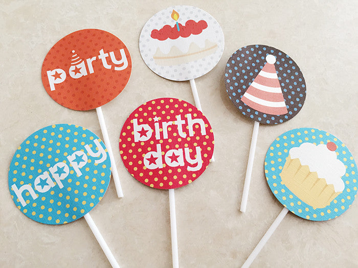 Party Cake Topper Set Happy Party A7032B