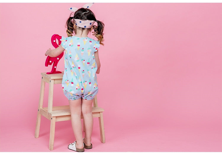 1-4Y Bebezoo Girls Ice-Cream Blue Romper K1018E