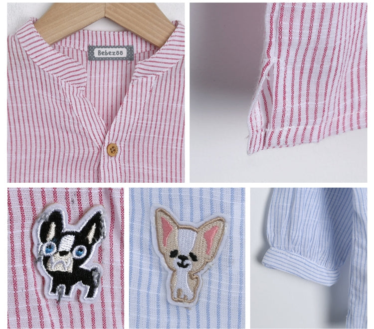 1-5Y Bebezoo Boys Shirts with Puppy Embroidery K10112B