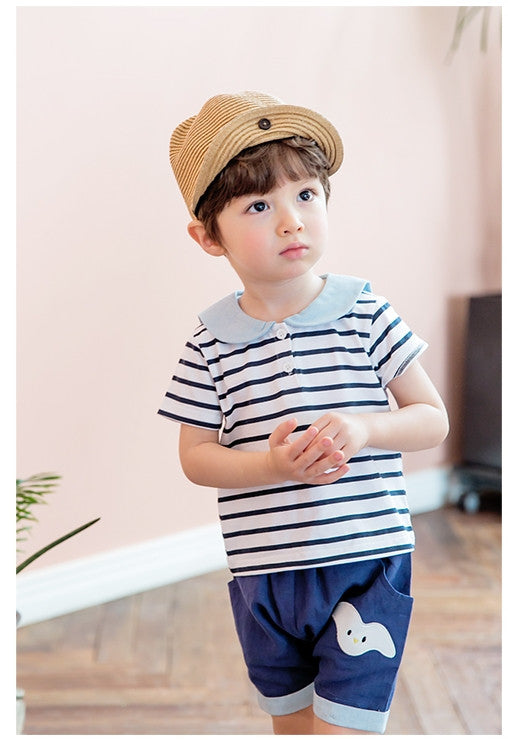 1-4Y Kids Bebezoo Bear Stripes Short-Sleeve Shirt K4032L