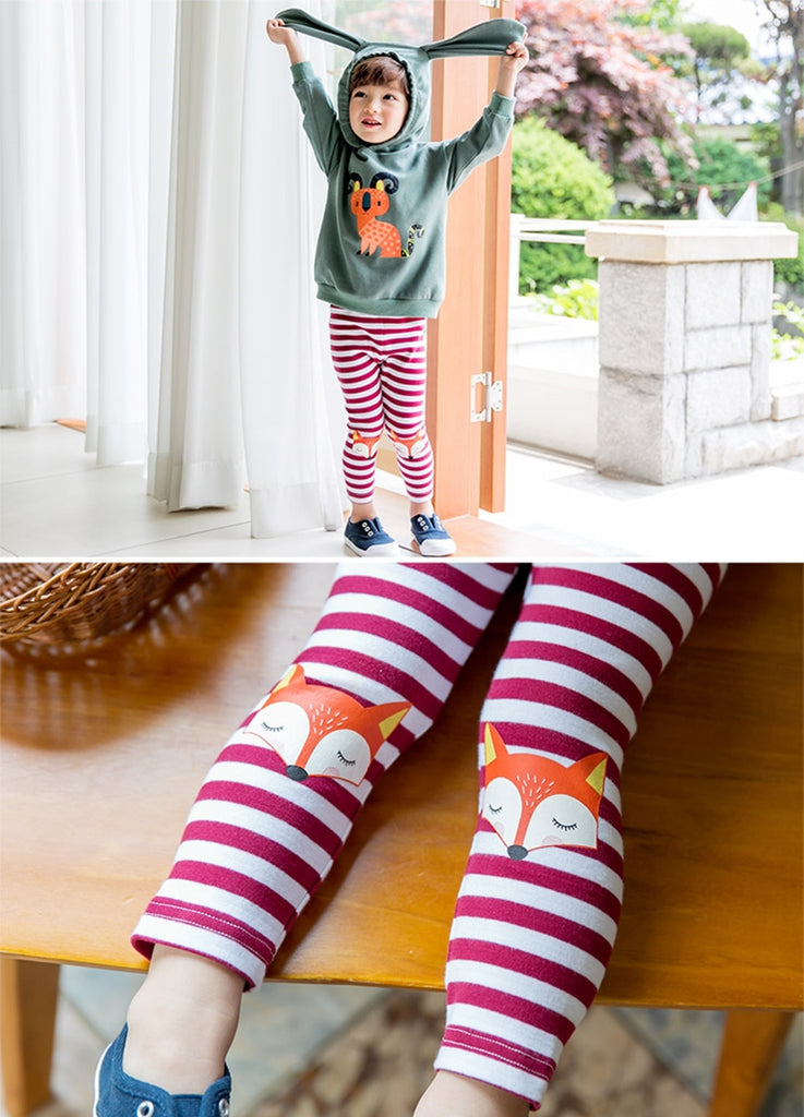 1-4Y Bebezoo Girls Red Stripe Legging Pants A2044I