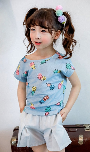 2-7Y Blue Pineapple Shirt A2023N