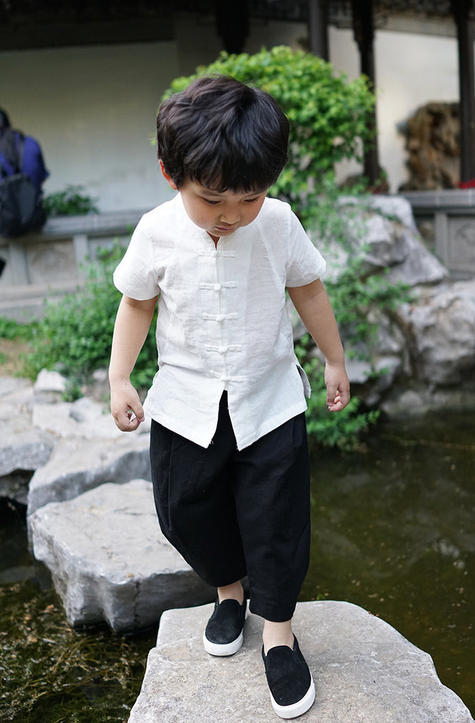 2-8Y Boys Mandarin Collar Shirt A100C12J