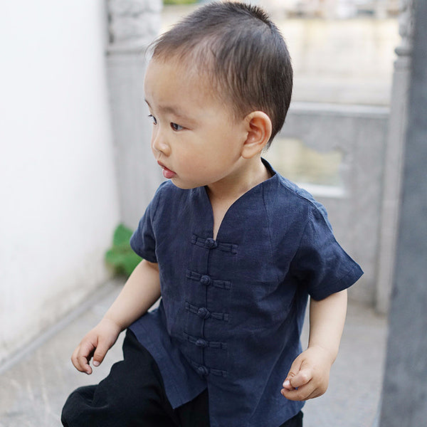 2-8Y Boys Mandarin Collar Shirt A100C12K