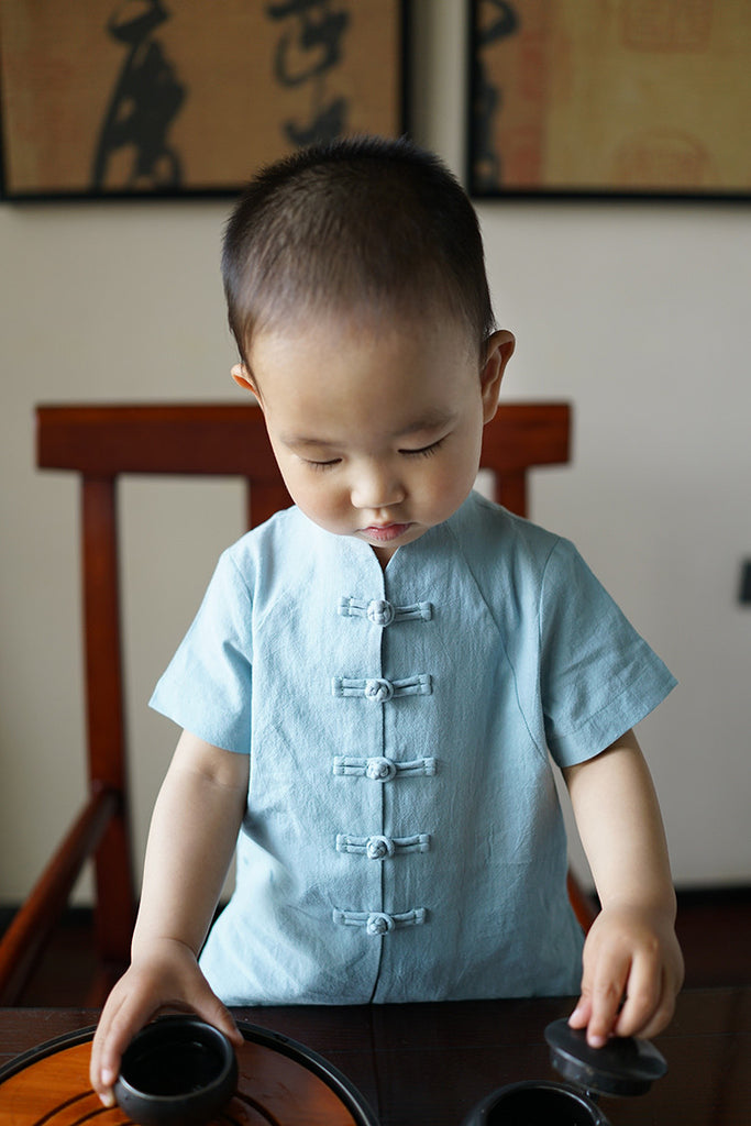 1-10Y Boys Mandarin Collar Shirt A100C12I (Father sizes available)