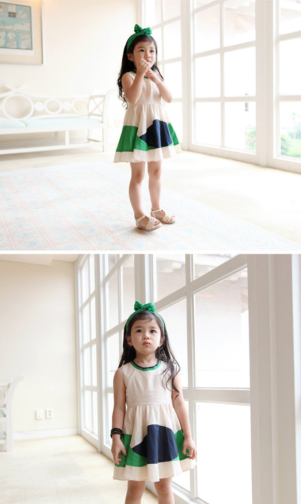 100% Handmade Kids Green Fabric Hairband A323G102F