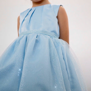 Girls Light Blue Glitter Party Prom Dress G20132B
