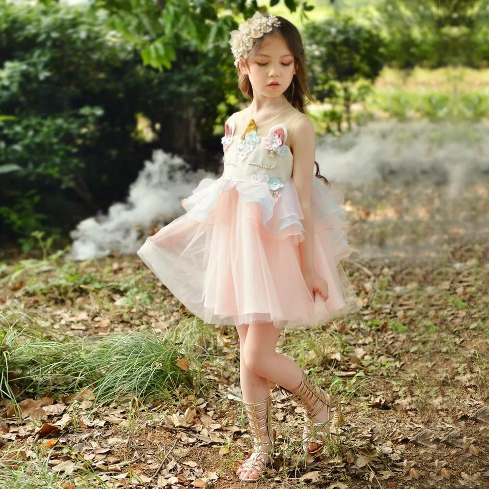 2-10Y Girls Unicorn Luxury Princess Dress G20121E