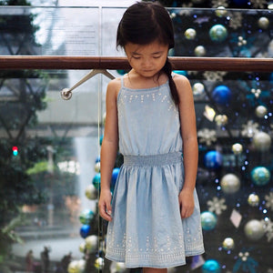 1-8Y Girls Embroidery Denim Dress A20134C