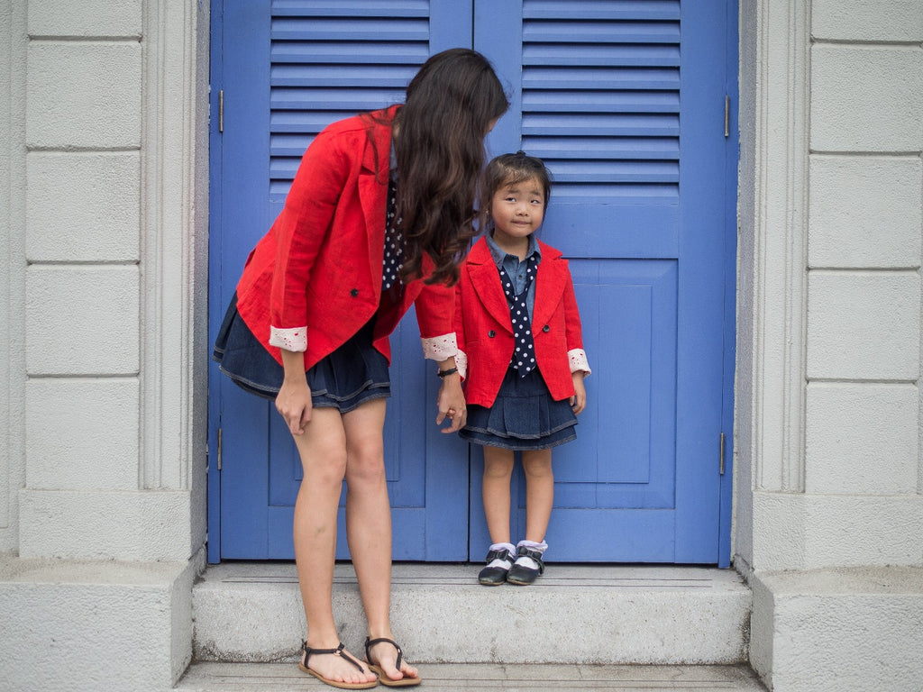 3-15Y Girls Red Blazer with Lace G2103M (Mother size available)