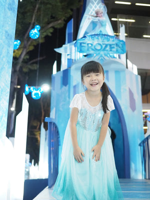 Girls Gradient Glittering Dress with Cape G2091A