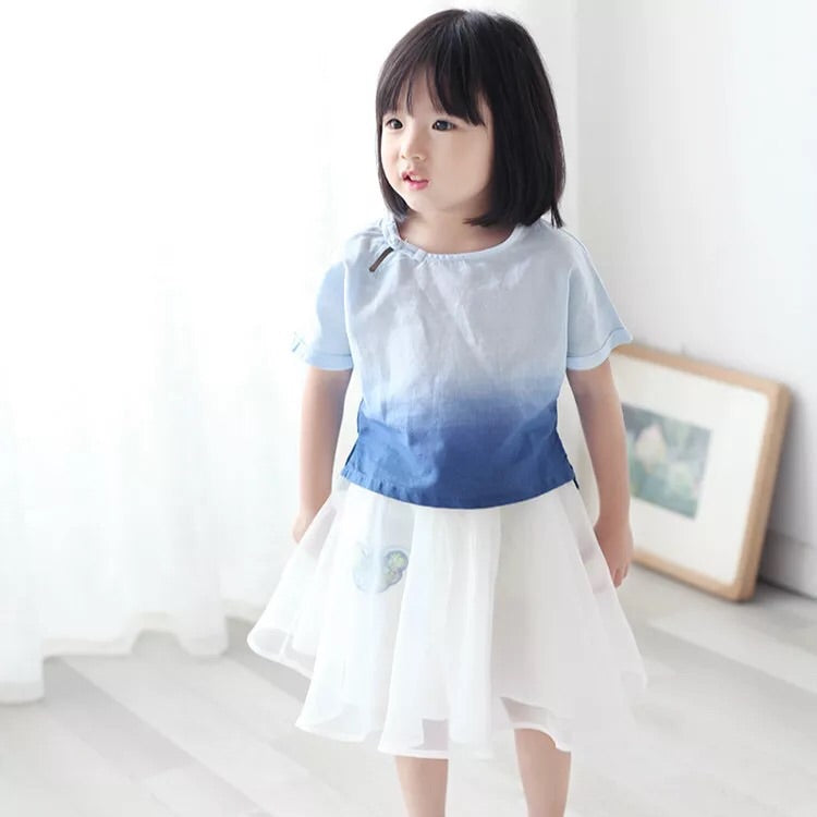1-6Y Girls Short-Sleeve Kungfu Top A200C21K