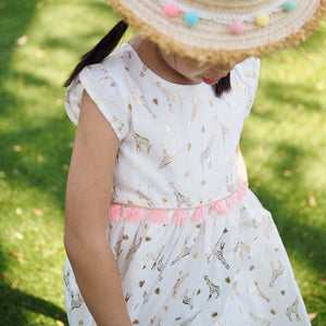 2-8Y Gold Prints Giraffe Tassels Dress G20126B