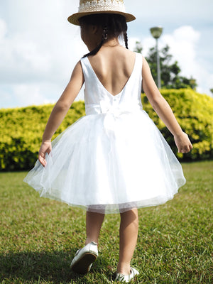 2-15Y Flower Girl White Tulle Gown G20126G