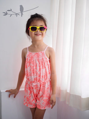 Girls Summer Tropical Pink Romper A20511C