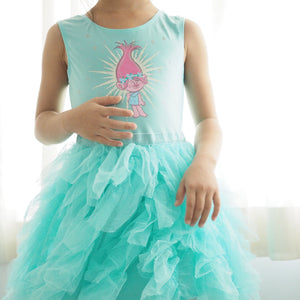 Girls Trolls Mint Tulle Dress A20135G
