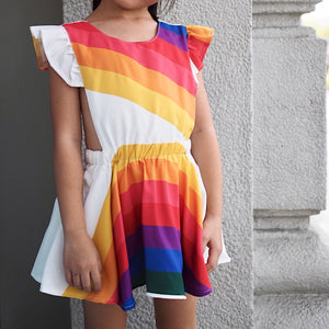 1-7Y Girls Rainbow Pinafore Dress A20131F