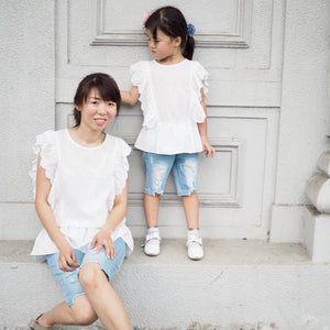 3-15Y Girls White Ruffles Blouse G21041G (Mother size available)