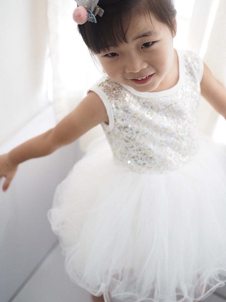 1-7Y Girls Sequin Puffy Tulle Princess Dress G20122N