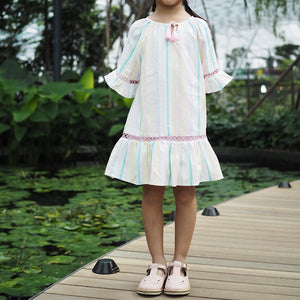 3-10Y Girls Bohemian Rainbow Colour Dress G20128J