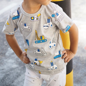 2-7Y Boys Short Sleeve Construction Vehicles T-Shirt A10424F