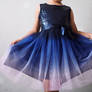 Girls Blue Sequins Gradient Dress A20134F