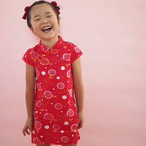 2-8Y Girls Red Wine Chinese Fans Cheongsam Dress A200C63K